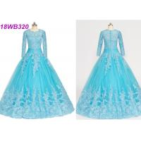 China Muslim Style Blue Multi Colored Wedding Gowns With Lace Long Sleeves Zipper Back wholesale
