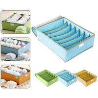 China 7Cell Bamboo Charcoal Storage Boxes Bra Underwear Closet Organizer Drawer Divider Green wholesale