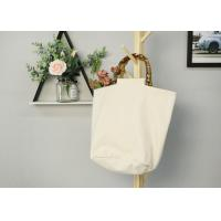 China Women Recycled Cotton Tote Bags With Bamboo Handle Wear Resistant Durable on sale