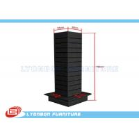China Shop Black MDF Four Sided Garment Display Stand Portable With Hanging Slots on sale