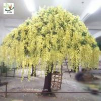 China UVG yellow wisteria blossoms large artificial trees for birthday and party decoration wholesale