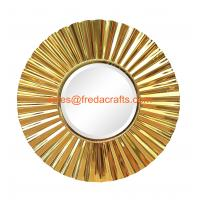 China Sunburst metal framed decoration mirror middle bevelled mirror shiny gold finish wholesale