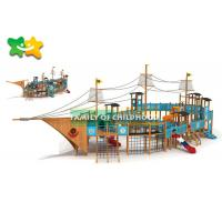 China Plate Platform  Childrens Wooden Climbing Frame With Slide Tube Equipment wholesale
