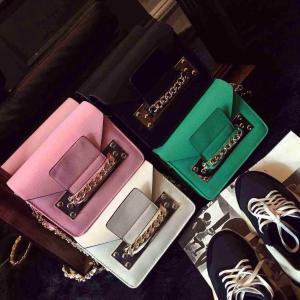 China 2015 Spring Hot Sale Women Satchel Handbag Shoulder Purse PU Leather Chain Bag Multi Color on sale