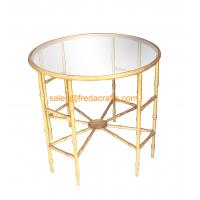 China Top-selling Bamboo iron Design Metal Frame Hand Foil Finish Mirror Top Coffee table wholesale