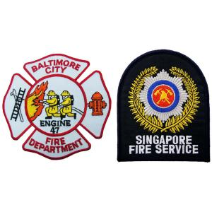 China ODM Felt Fabric 100mm Fire Department Patches with Cut Border wholesale