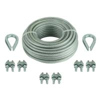 Vinyl Coated Wire Rope Sling With Two Thimbles / Six Clamps 1/8 Inch X 30 Feet for sale