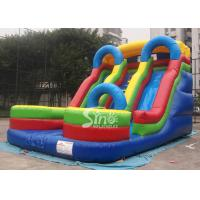 China 5mts high big double lane inflatable slide with arch made of 0.55mm pvc tarpaulin wholesale