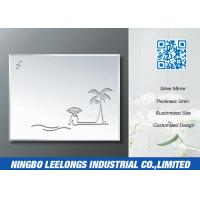 China Simple Carving Silver Bathroom Mirror With Coconut Tree Beach Pattern wholesale