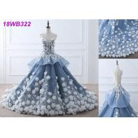 China 3D Flowers Crystal Grey Wedding Gown / Luxury See Through Lace Bridal Gowns wholesale