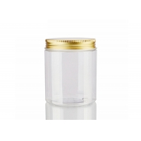 China Empty 250g Wide Mouth Pet Plastic Clear Cosmetic Face Cream Jar With Gold Aluminum Lid wholesale