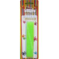 Quality Tall Slender Glitter Birthday Candles 10 White Holders Fluorescent Green wholesale