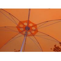 China 36 Inch Orange Beach Umbrella Round Shaped With Aluminum Umbrella Handle wholesale
