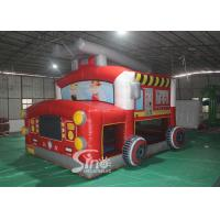 China The Blow Up Fire Truck Inflatable Bouncy Castle For Kids And Adults Party Time wholesale