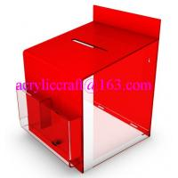 China 2015 new design clear and red acrylic suggestion box with lock wholesale
