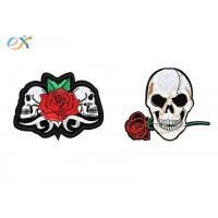 China Polyester Material Skull Motorcycle Patches Irregular Shape With Laser Cut wholesale