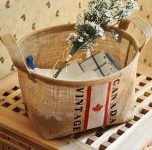 China Amazon Hot Sales Fashion Household Foldable Eco Friendly Durable Jute Storage Organizer Basket,large capacity Cotton Lin wholesale