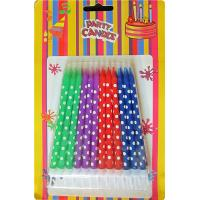 Quality 24 Holder OEM Spiral Birthday Candles Dots Paraffin Wax For Baby Party wholesale
