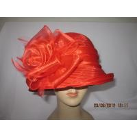 Quality Custom Women Elegant Organza Ribbon Bow Cloche Hat with Soft Feather Inside for Party for sale