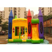 China Hot commercial outdoor crayon inflatable bounce house with basketball ring N slide inside for kids parties wholesale