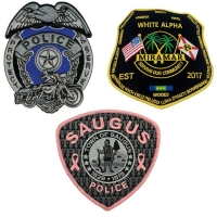 China Merrow Border Custom Logo Police Embroidered Patch For Clothing wholesale