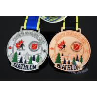 China Canada Sports Skiing Events Custom Metal Medals, Raised Metal Shiny And Recess Mett Effect, Sublimated Ribbon wholesale