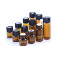 China 1ml 2ml 3ml 5ml Essential Oil Glass Bottle Amber Glass Vial With Plug wholesale