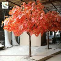China UVG romantic artificial red maple tree in silk leaves and wood trunk for indoor home decorative GRE070 wholesale