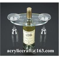China Personalized Engraved Transparent Oval Acrylic Two Wine Glass Holder wholesale