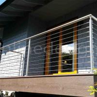 China House Balcony Project 304 / 316 Stainless Steel Wire Cable Rail Outdoor Metal Stair Railing wholesale