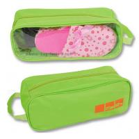 China 600D Polyester Travel Shoe Storage Bag Slippers Packaging Organizer Pouch With Transparent PVC Window wholesale