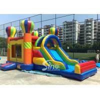 China 4in1 Rainbow Commercial Kids Inflatable Bounce castle with Slide N basket hoop inside wholesale