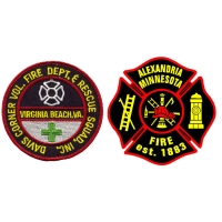 China Eco Freindly Merrow Border 3D Fire Department Patches For Clothing wholesale