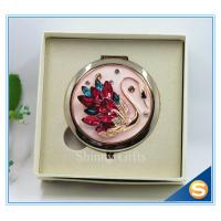 China Shinny Gifts Crystal Goose Design Folding Make up Mirror Souvenir Compact Mirror wholesale