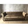 China Modern Grey Crushed Velvet Sofa Three Seater / Fabric Upholstery Sofa Oak Wood wholesale