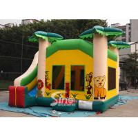 China Custom made outdoor tropical inflatable combo castle with slide made of lead free pvc tarpaulin wholesale