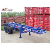 China Container Transport Tri Axle Skeletal Trailer , Red Multi Function Skeletal Trailer wholesale