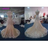 China Lovely Lace Multi Colored Wedding Gowns Column Embroidered Celebrity Mermaid wholesale