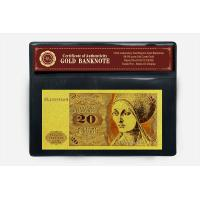 Quality Custom 24k Germany 20 Mark Bill Gold Foil Banknote For Decoration for sale