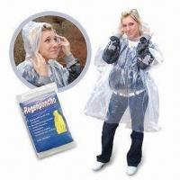 China Disposable Waterproof Poncho with 0.2mm Thickness, Made of PE wholesale