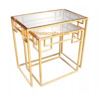 China New design tempered glass top with metal powder coated frame coffee table nesting table wholesale