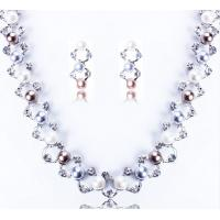 China Bright gold diamond luxury imitation pearl necklace / bridal jewelry sets necklace set on sale