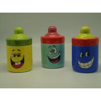 China Smiling Face Porcelain Childrens Piggy Bank Feeding Bottle Shaped 10 X 10  X 16 Cm wholesale