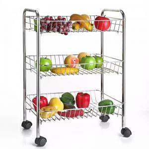 China H289 Stainless Steel Metal Trolley Cart 3 Tier On Wheel Vegetable / Fruit Rack wholesale