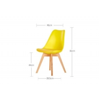 China Ergonomic Yellow Wood Dining Chairs With Wooden Legs , 44cm Seat Height wholesale