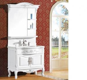 Waterproof bathroom furniture single vanity sink cabinet mirror / basin included