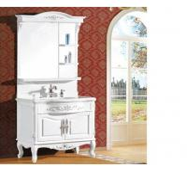 Quality Waterproof bathroom furniture single vanity sink cabinet mirror / basin included for sale