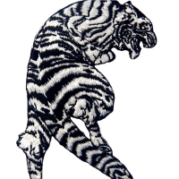 China 120D Laser Cut 100% Embroidered Tiger Iron On Patch wholesale