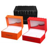 China High Glossy Orange PU Leather Watch Box Custom LOGO Printing Environmentally Friendly wholesale