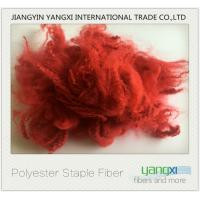 China Renewable Polyester Spinning Fiber Red Dyed fiber Easy To Process wholesale